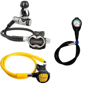 Conjunto de Regulador para Mergulho Cressi AC25 Master Cromo + Octopus Compact + Manômetro