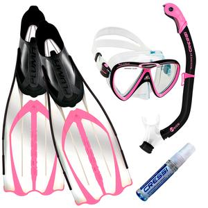 Kit de Mergulho Máscara+Respirador+Nadadeira Cressi Pluma Rosa + Ikarus + Orion Dry + Anti Fog Sea Gold