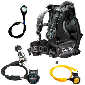 Conjunto de Regulador para Mergulho Cressi MC9 Compact + BC Patrol + Octopus Compact + Manômetro