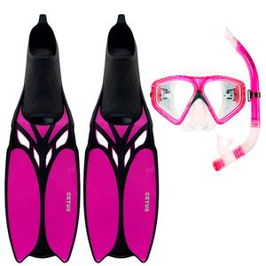 Kit de Mergulho Máscara+Respirador+Nadadeira Cetus Shark Fun Pink