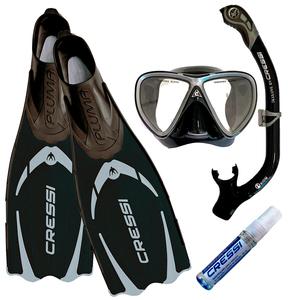 Kit de Mergulho Máscara+Respirador+Nadadeira Cressi Pluma Preto + Ikarus + Orion Dry + Anti Fog Sea Gold