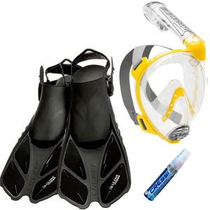Kit de Mergulho Máscara Full Face Cressi Duke + Nadadeira Bonete + Anti Fog Sea Gold