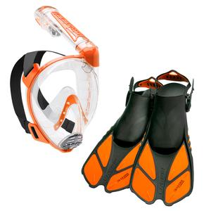 Kit de Mergulho Mascara Respirador Nadadeiras Cressi Duke Bonete