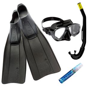 Kit de Mergulho Máscara+Respirador+Nadadeira Cressi Clio + Marea + Island + Anti Fog Sea Gold