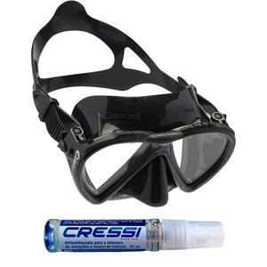 Máscara de Mergulho Cressi Lince Black + Anti Fog Sea Gold