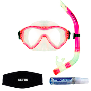 Kit de Mergulho Máscara+Respirador Cetus New Parma Pro + Anti Fog Sea Gold + Strap