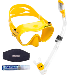 Kit de Mergulho Máscara+Respirador Cressi Frameless + Supernova Dry + Anti Fog Sea Gold + Strap