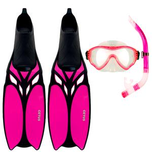 Kit de Mergulho Máscara+Respirador+Nadadeira Cetus Cobia Pro Pink